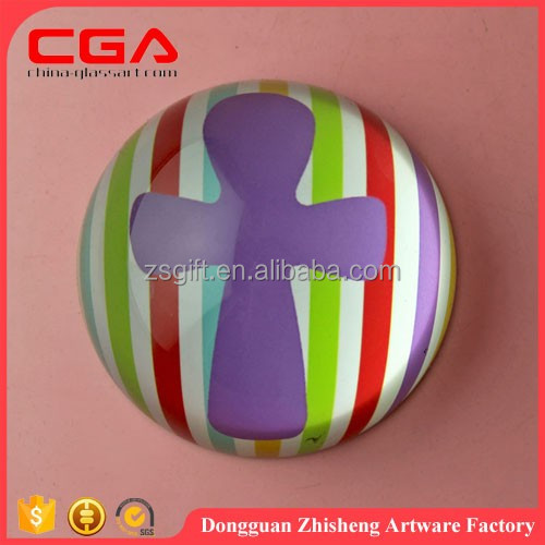Unique colored glass paperweight,decal paperweight