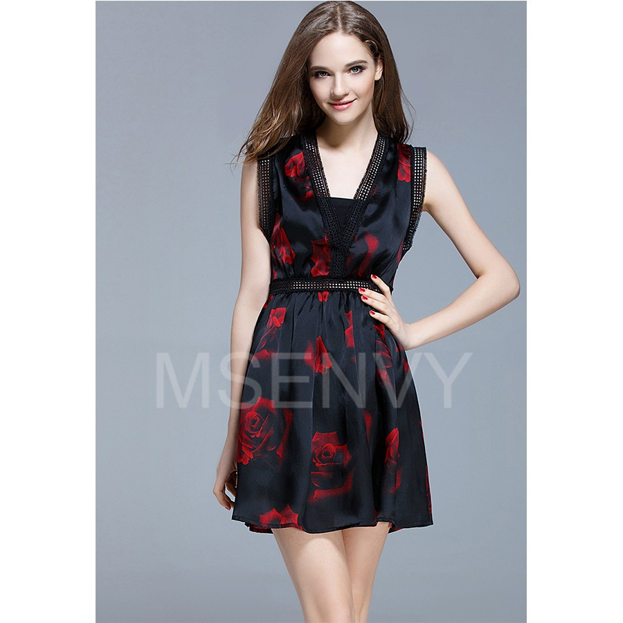 Floral placement print silk organza mini dress