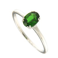 Natural Chrome Diopside 5*7 Oval Ring in 925 Silver and fine silver Nickle and led free.