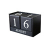 reative Wooden Blocks Perpetual Desk Calendar Home Decoration 6.12.83.8inch (Black)