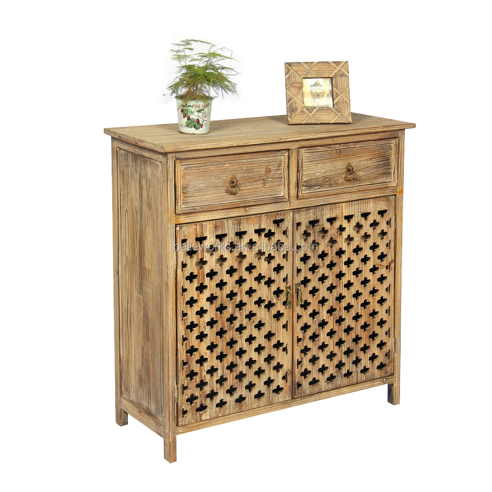Chinese Solid Wood Furniture 2 Hollow Out Door 2 Drawer Wood Cabinet