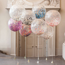 Eco-friendly Material Hot magic balloon 12 inches 2.8grams transparent sequined balloon/ rainbow papers inside latex balloons
