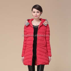 2014 Winter Jacket/Padded Jacket/Women Down Jacket Adult Women Long-Sleeve Plaid Hood Collar Zipper Front Fly Red Down Jacket