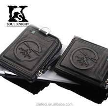 SK-8062 short cool patttern debossed printing leather wallet for young men