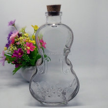 500ml violin shaped glass bottle with wooden cork