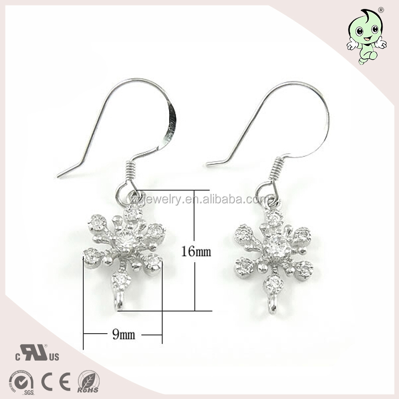 Snow flower earring accessories S925 sterling silver earring parts