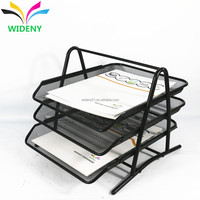 Wideny eco-friendly powder coated office supply desk organizer stationery stackable 3 layer mesh metal wire file tray