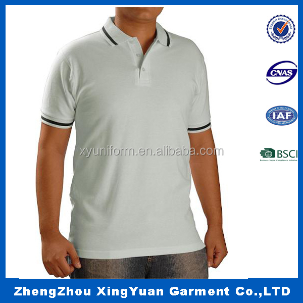 Men's cotton/polyester custom dry fit polo shirts customize uniforms 100% cotton rib collar for polo shirts