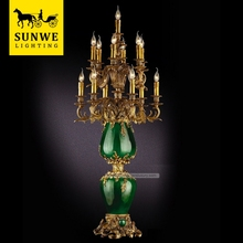 Antique Baroque 13 Lights Green Decorative Bronze Porcelain night club lighting illuminated led table