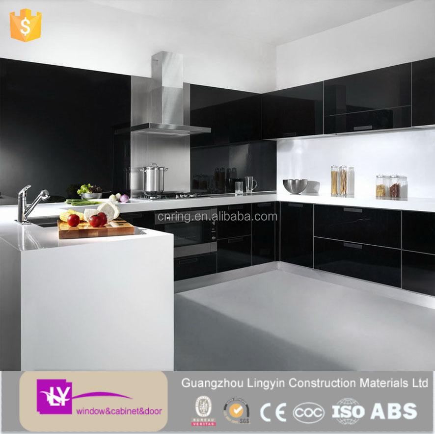 modular modern black lacquer kitchen cabinets wholesale