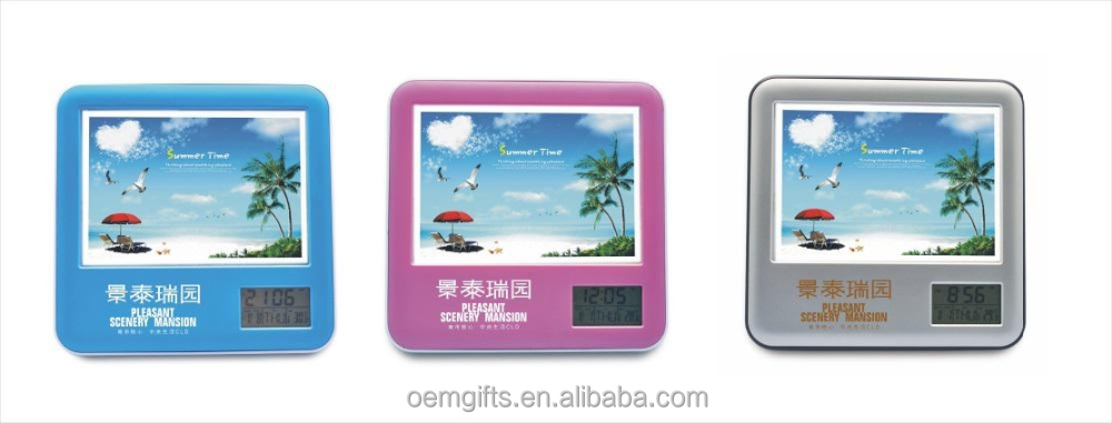 Multi Function Photo Frame Penholder Alarm Clock With Calendar And Temperature