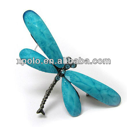 Crystal and acrylic deco dragonfly pin or brooch made in China Yiwu
