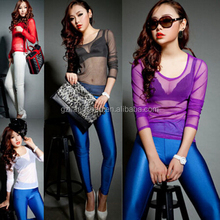 OEM Wholesale Bulk Women Girls Gauze Sheer Tops Slim Sexy Long Sleeve Blouse T-Shirt Party Wear Tops Clubwear