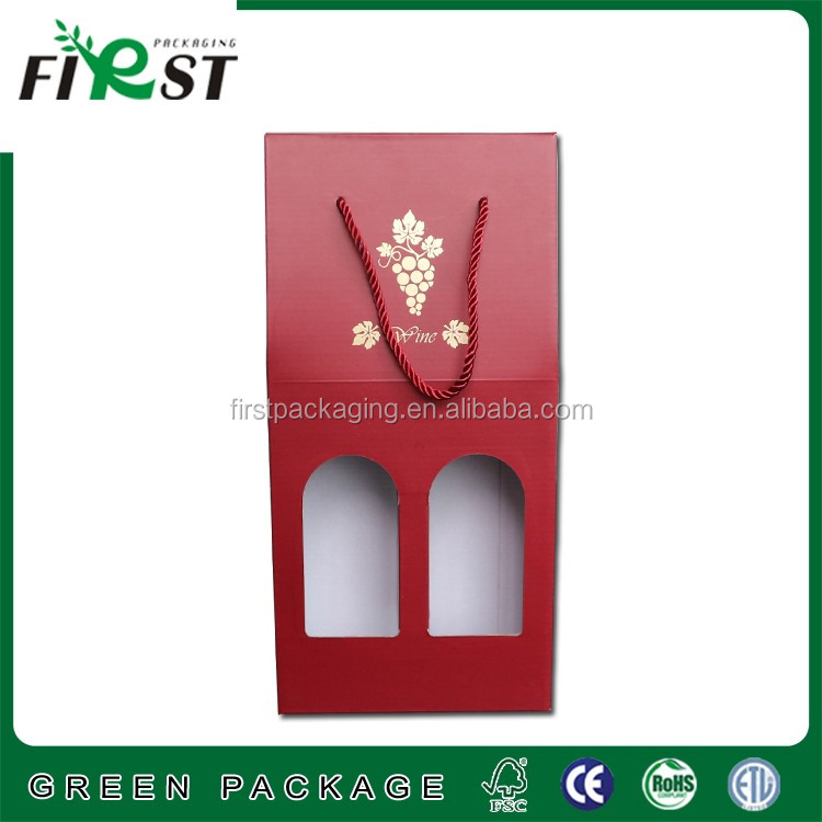 2 Packed Beer or Wine Bottles Packaging Cardboard gift packaging Carrier with customized printed logo cotton rope