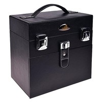 Fashion black PU leather cosmetic case with mirror with compartments&drawer RZ-SC-51