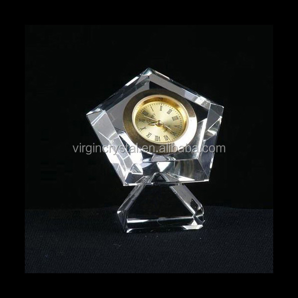 Decorative small crystal star table clock for business gift or wedding favor