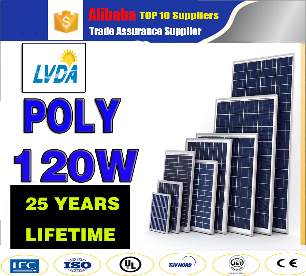 poly 120w solar panel/poly solar panel 120w water cooled