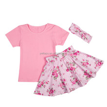 2016 Wholesale Childrens Clothing Girls Pleated Skirt Set, 2 Piece Skirt Sets With Headband, Baby Clothes Made In Yiwu