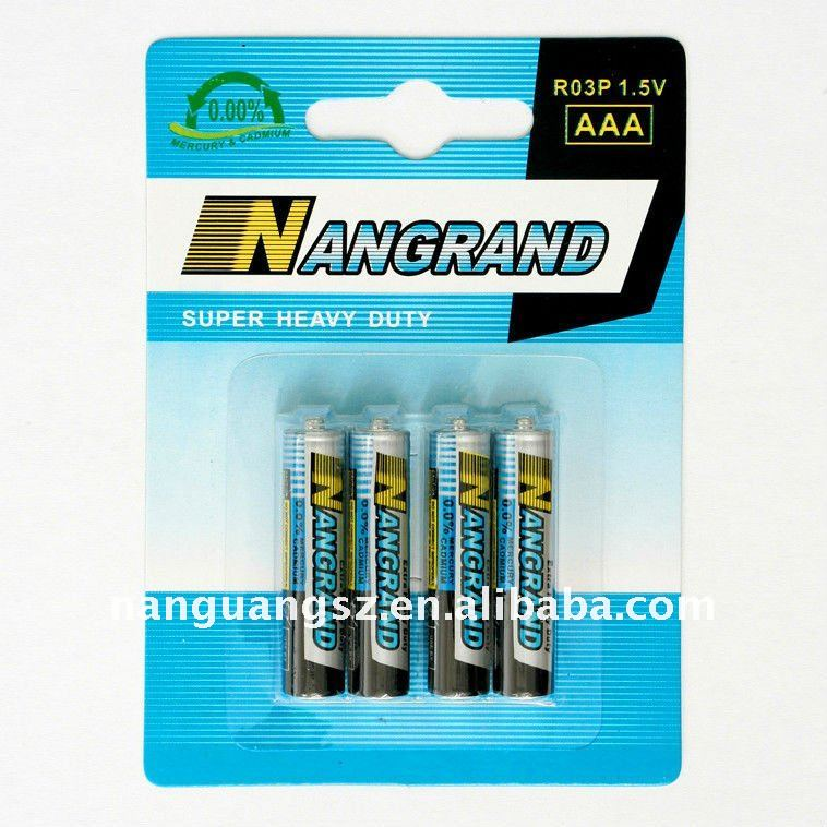 R03p 1.5v aaa size carbon zinc battery