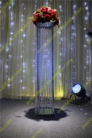 "47"" tall square crystal wedding walkway stand wedding floor flower stand"