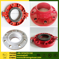 ASTM A536 QT450-10 ISO/FM/UL Approved 65-45-12 ductile iron grooved pipe fittings Flange