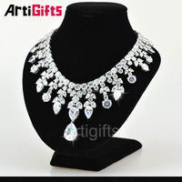 Luxury Diamond Necklace Designs White Gold Plating Cubic Zirconia Diamond wedding necklace jewelry