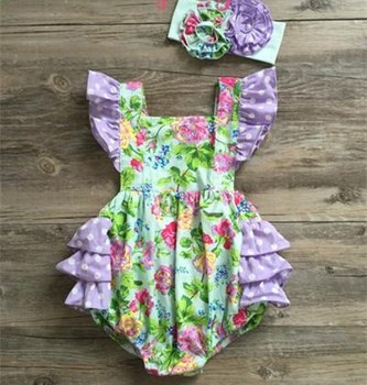 high quality awesome flower baby girl romper
