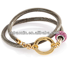 2014 New Spring Snake Leather Wrap Leather Bracelet With Alloy and Crystal Beads