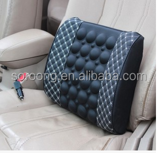 12V/24V Memory Foam Seat Lumbar Back Support Cushion With Massage