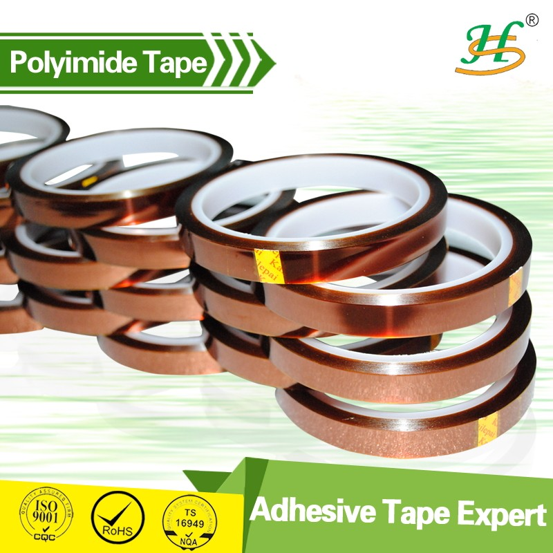 ISO9001 Double Sided Golden Glossy Polyimide Tape With Excellent Bonding Strength