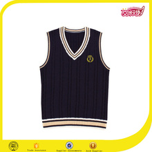 The new design black and white color model of school uniform vest sweater for child and hand knitted sweater