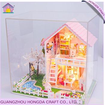 Diy 2017 1 24 Miniature Dollhouse Diy Kit Big Doll House Furniture