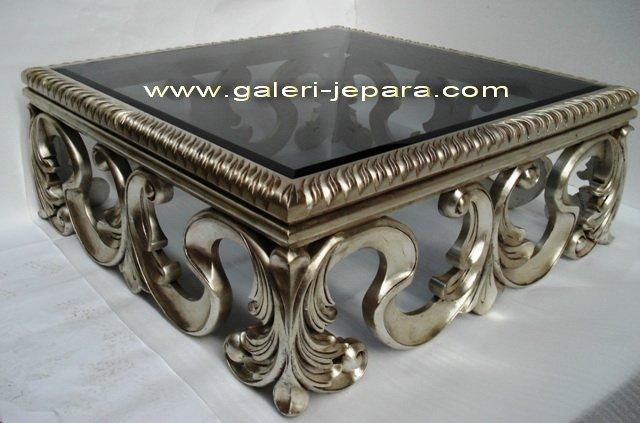 Coffe Table Full Carving with Glass - Classic Furniture - Living Room Wood