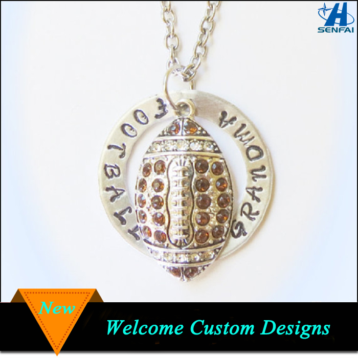 Jewelry 2016 sports theme crystal football pendant necklace rhinestone football necklace