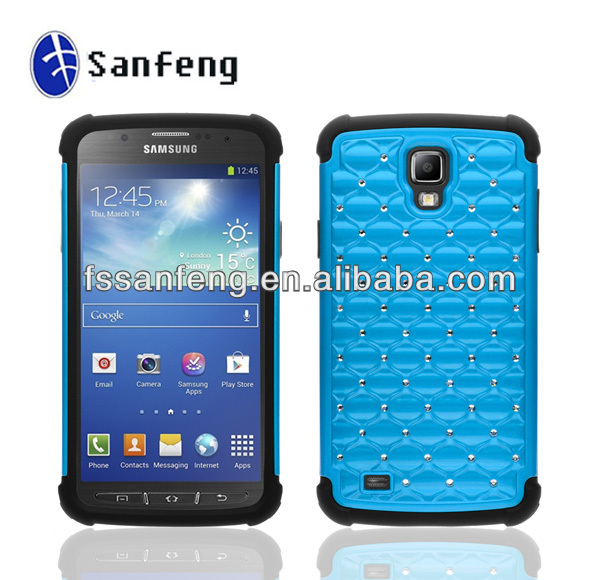 Luxurious Diamond Studded Combo Case for Samsung Galaxy S4 Active I537,for Samsung Galaxy S4 Active I9295 Diamond Case