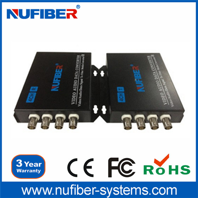4 CH Video/Audio/PCM/RS485 Converter, Fiber Optical Video Transmitter/Receiver