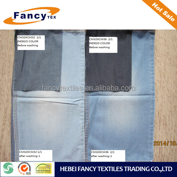 cotton 2/1twill indigo color denim fabric for fashion jeans shirt