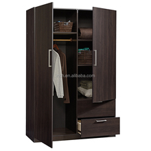 Walnut color particle board wardrobe cabinet used