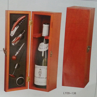 wooden wine box with opener single wine box holder for wholesale best packing gift for wine lover