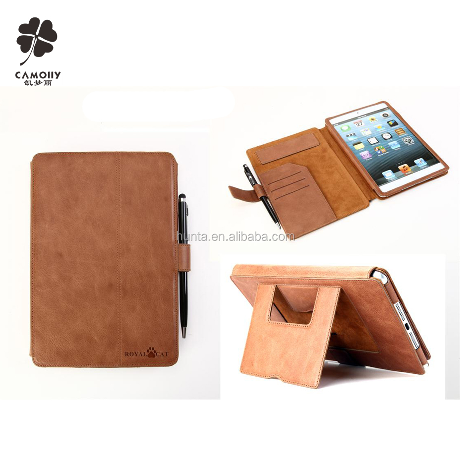 china supplier wholesale tablet leather case for iPad mini 2/3/4 genuine leather accessory for ipad mini234 case
