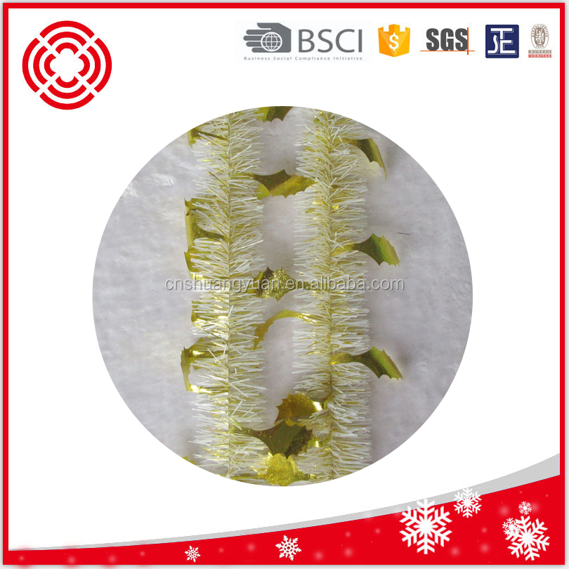 Machine cut gold tinsel garland for xmas tree decoration