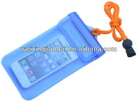Mobile phone durable lanyard PVC waterproof bag for iphone samsung 8colors materials