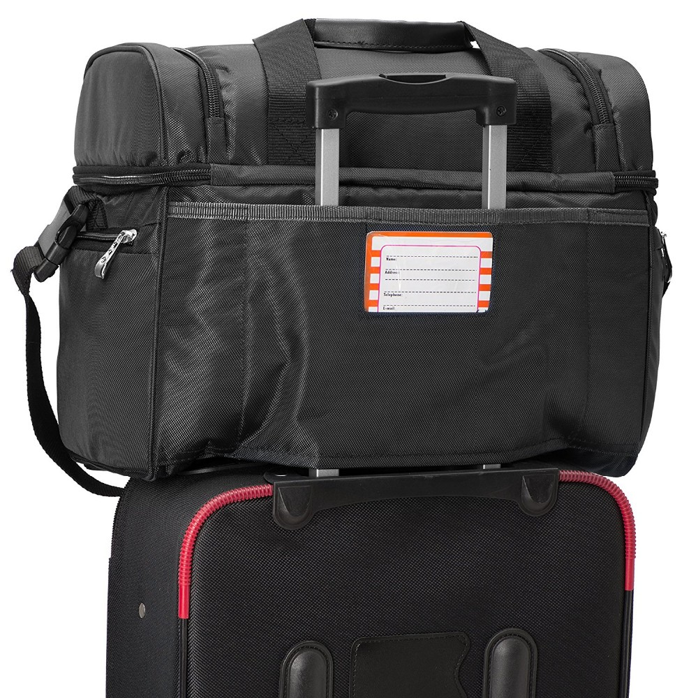Cooler Bag Insulated Compartments Heavy Duty Polyester 2 Heat Sealed Removable Peva Liner, Many Pockets, Strong Double Zipper