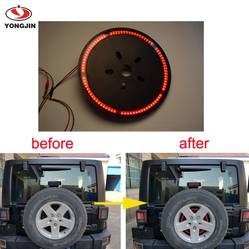 Spare Tire LED Third Brake Light for Jeep Wrangler JK /Off Road Light BK
