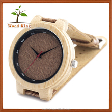 Unique Products 2017 Bamboo Leather Private Label Watch Manufacturers China Customise Fashion Quartz Brand No Name Watches
