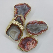 WT-C183 Wholesale Natural Geode Agate Stone Pendant with double loops,24K real gold plated agate Connector for jewelry