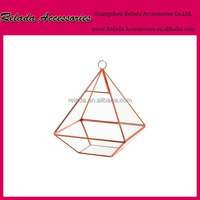 China factory wholesale hanging glass rose Gold flower vase for indoor decoration Geometric clear glass plant terrarium