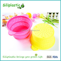 Large collapsible draining folding silicone pot strainer