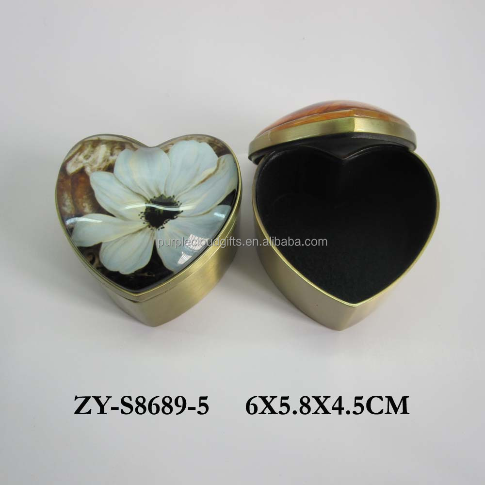 Heart shape vintage metal trinket box, glass jewelry box