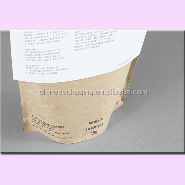 nature brown resealable ziplock kraft paper bag for salt packing